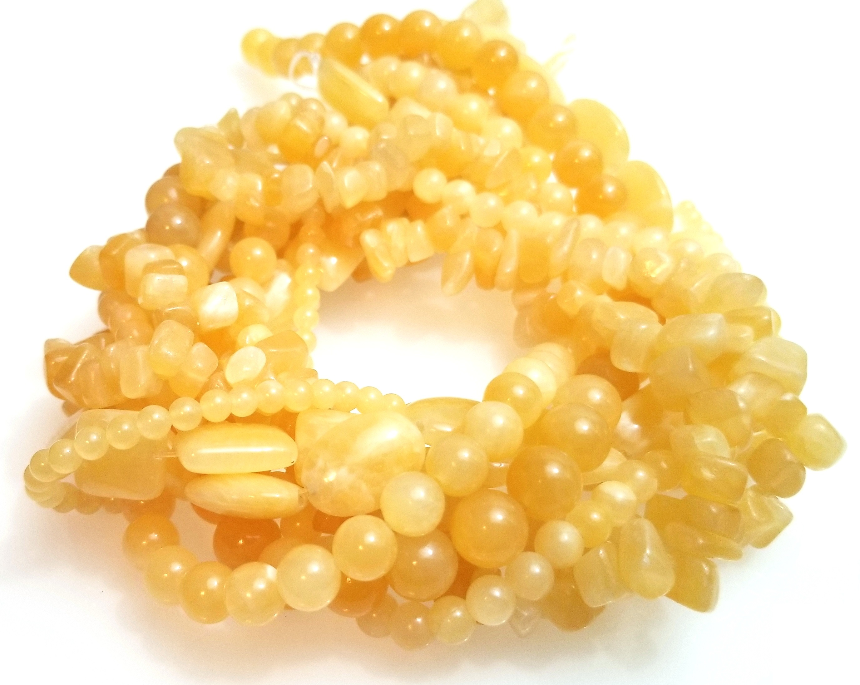 Yellow Calcite Semiprecious Gemstone Bead Assortment