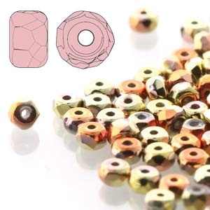 California Gold Rush 2x3mm Micro Spacer Faceted Czech Glass Beads