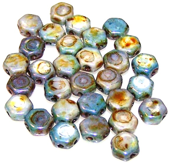 Czech Glass Honeycomb Hex Beads