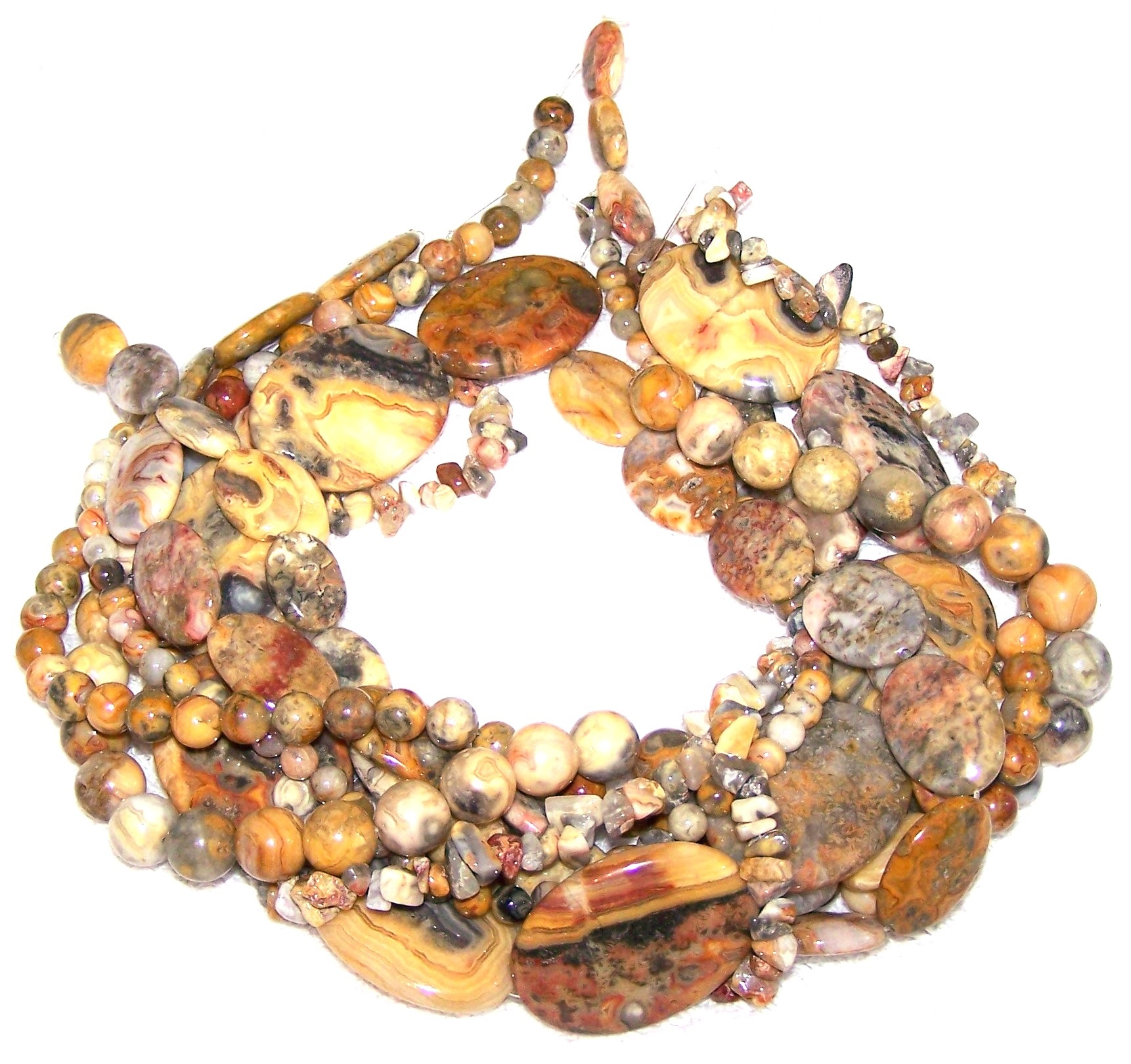 Crazy Lace Agate Deluxe Semiprecious Gemstone Bead Set