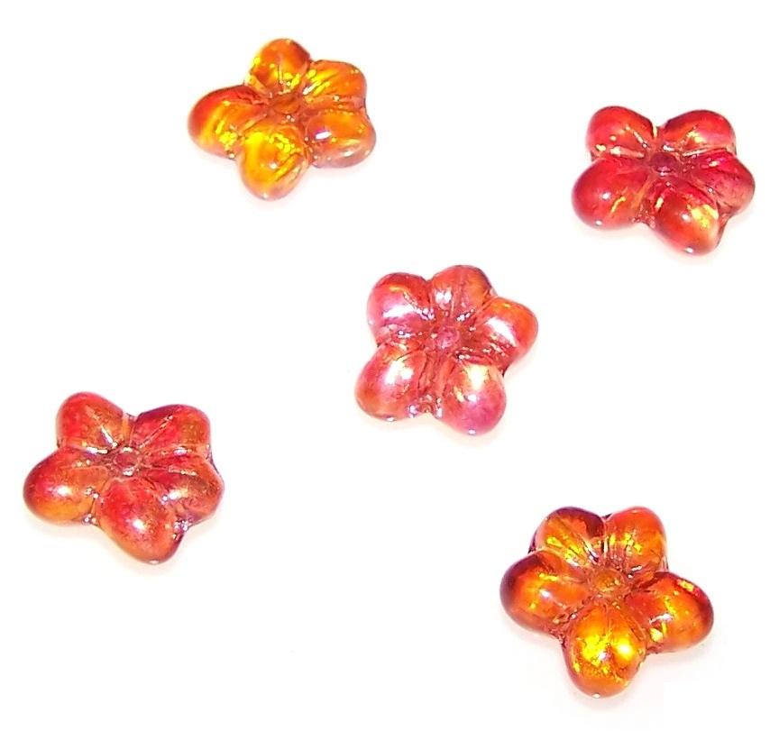 4pz Flower Beads Pressate Perle di Vetro ceche in Forma di Fiore 14mm Un Foro Crystal Matte with Bronze Fired Color