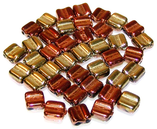 Jet California Gold Rush Czech Glass Grooved Tile Beads - Groovy Beads