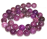 6 Lepidolite 12mm Round Semiprecious Gemstone Beads