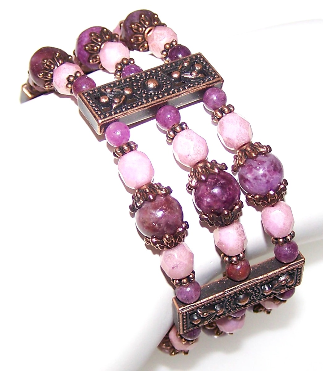 Lepidolite Rose Bracelet Free Beaded Jewelry Making Pattern