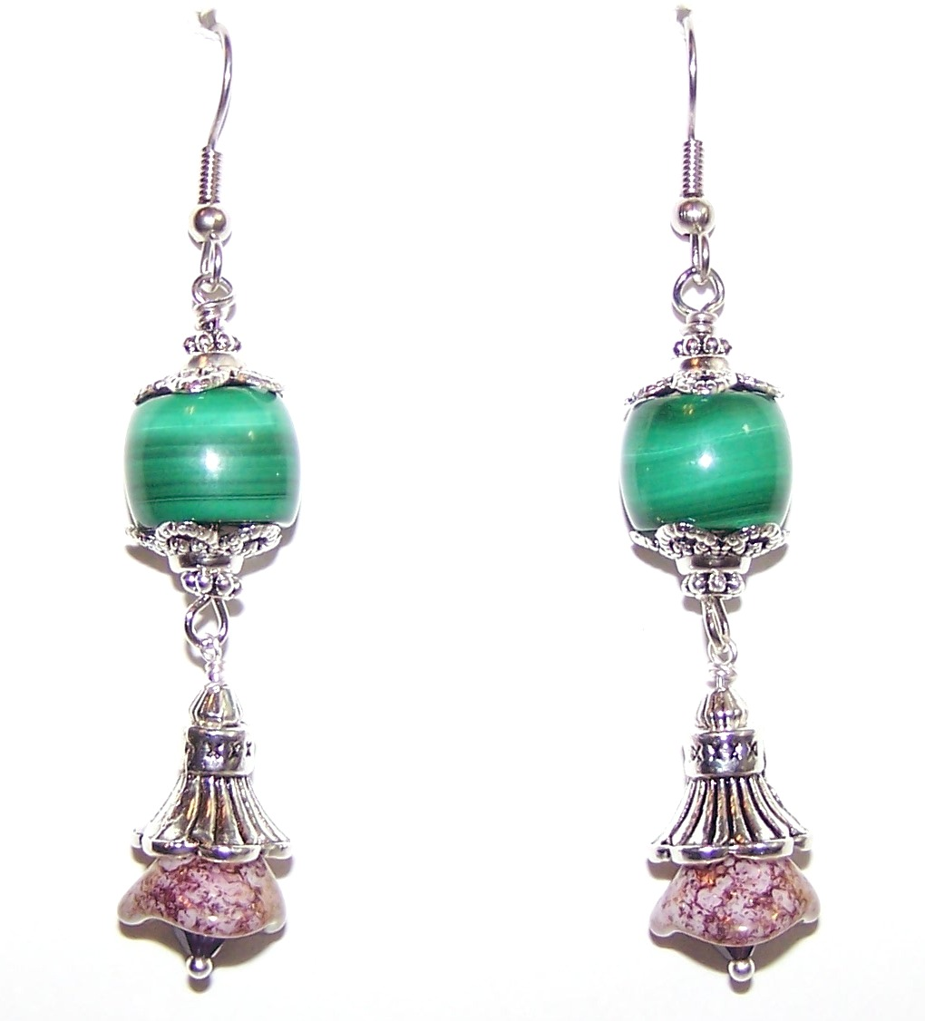 Malachite Gardens Earrings Free Beaded Jewelry Making Pattern