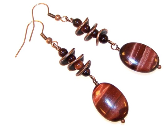 Tiger Eye Gemstone Bead Earrings