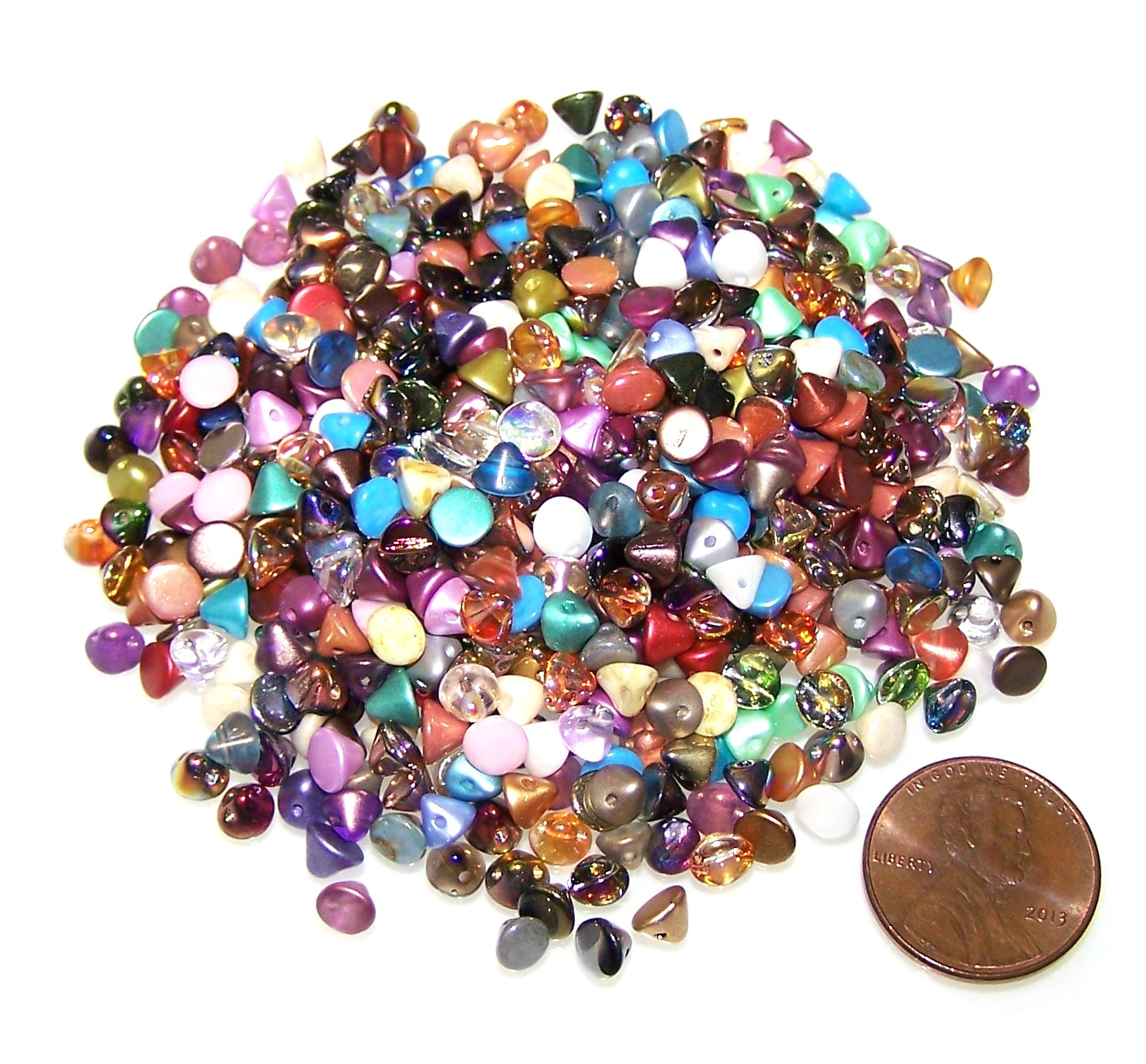 Mixed Colors of Czech Glass 4mm Button Beads