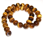 1 Strand of Natural Tiger Eye 12mm Round Semiprecious Gemstone Beads