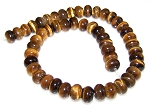 1 Strand of 12x8mm Puff Rondelle Semiprecious Gemstone Beads - Natural Tiger Eye