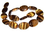 1 Strand of 18x25mm Puff Oval Semiprecious Gemstone Beads - Natural Tiger Eye