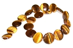2 Natural Tiger Eye 20mm Puff Coin Semiprecious Gemstone Beads