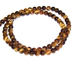 1 Strand of 4mm Round Semiprecious Gemstone Beads - Natural Tiger Eye