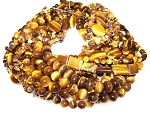 Natural Tiger Eye Semiprecious Gemstone Beads - 12 Strand Set