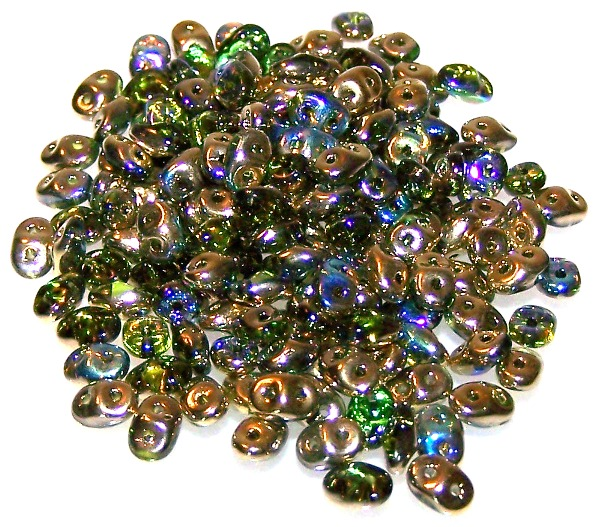 Olive Golden Rainbow Czech Glass Superduo Beads