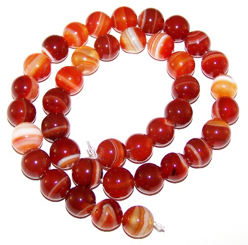 Red Striped Agate Beads