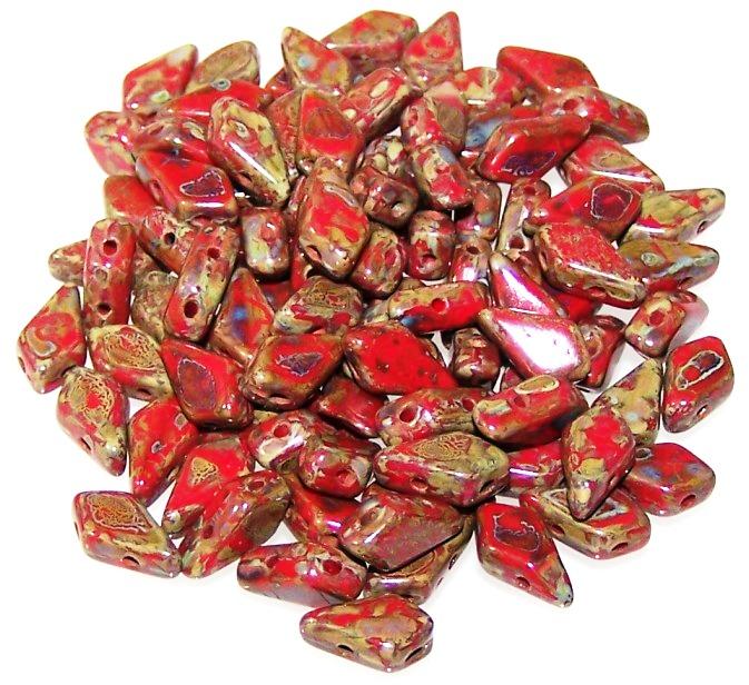 Red Travertine Czech Glass Kite Beads