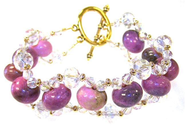 Rhodonite Waves Bracelet Free Beaded Jewelry Making Pattern