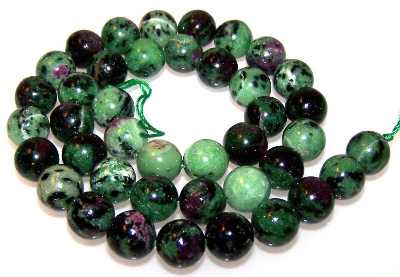 Ruby Zoisite 10mm Semiprecious Gemstone Round Beads