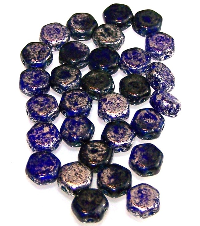 Silver Splash Cobalt Czech Glass Honeycomb Hex Beads