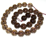 1 Strand of 12mm Round Semiprecious Gemstone Beads - Smoky Quartz