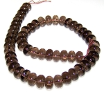 1 Strand of 12x8mm Puff Rondelle Semiprecious Gemstone Beads - Smoky Quartz