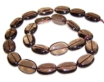 6 Smoky Quartz 13x18mm Puff Oval Semiprecious Gemstone Beads