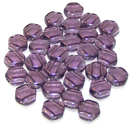 L49//7 Honeycomb Czech Glass Beads Tanzanite Semi Bronze Luster 6mm Pack of 30