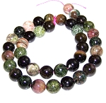 1 Dozen 10mm Round Semiprecious Gemstone Beads - Tourmaline