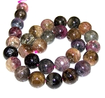 1 Strand of Tourmaline 12mm Round Semiprecious Gemstone Beads