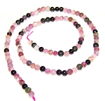 1 Strand of 4mm Round Semiprecious Gemstone Beads - Tourmaline