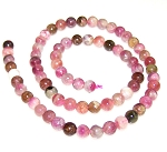 1 Dozen 6mm Round Semiprecious Gemstone Beads - Tourmaline