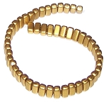 25 Czech Glass 2-Hole 3x6mm Brick Beads - Olive Gold