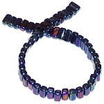 25 Czech Glass 2-Hole 3x6mm Brick Beads - Iris Blue