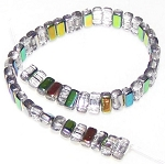 25 Czech Glass 2-Hole 3x6mm Brick Beads - Crystal Vitrail