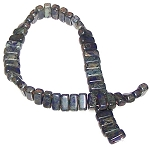 25 Czech Glass 2-Hole 3x6mm Brick Beads - Indigo Picasso