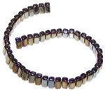 25 Czech Glass 2-Hole 3x6mm Brick Beads - Iris Brown