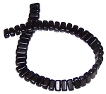 25 Czech Glass 2-Hole 3x6mm Brick Beads - Jet Matte