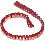 25 Czech Glass 2-Hole 3x6mm Brick Beads - Bronze Luster Iris Opaque Red
