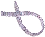 25 Czech Glass 2-Hole 3x6mm Brick Beads - Opaque Amethyst Luster