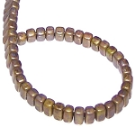 25 Czech Glass 2-Hole 3x6mm Brick Beads - Opaque Olive Copper Picasso