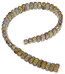25 Czech Glass 2-Hole 3x6mm Brick Beads - Opaque Olive Picasso