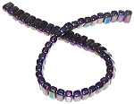 25 Czech Glass 2-Hole 3x6mm Brick Beads - Iris Purple