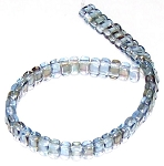 25 Czech Glass 2-Hole 3x6mm Brick Beads - Twilight Sapphire