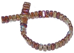 25 Czech Glass 2-Hole 3x6mm Brick Beads - Picasso Umber