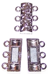 2 Antique Silver-Plated 20x14mm Super Strong 3-Strand Magnetic Clasps