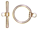 10 Gold-Plated 17mm Smooth Round Toggle Clasps