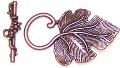 10 Antique Copper 37x22mm Grape Leaf & Grapes Toggle Clasp