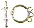 10 Silver-Plated 3-Strand Smooth Toggle Clasps