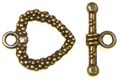 10 Antique Bronze 16mm Heart Toggle Clasps