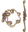 10 Antique Bronze 24mm Grapes Toggle Clasps